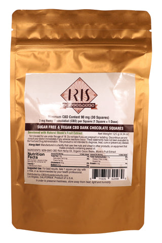 Iris Sugar Free Dark Chocolate CBD Squares 90mg
