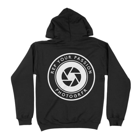 Front Back Round Logo Hoodie - Black