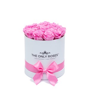 Small Round White Huggy Rose Box