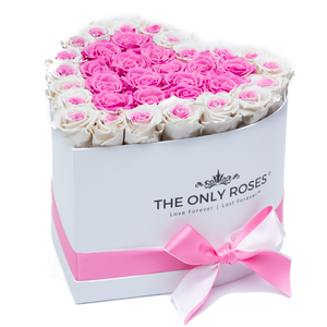 Heart White Huggy Rose Box