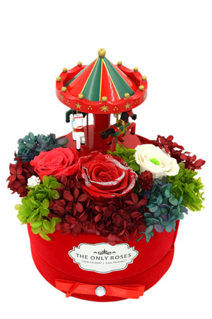 Merry-go-round Music Red Preserved Rose Arrangement - The Only Roses