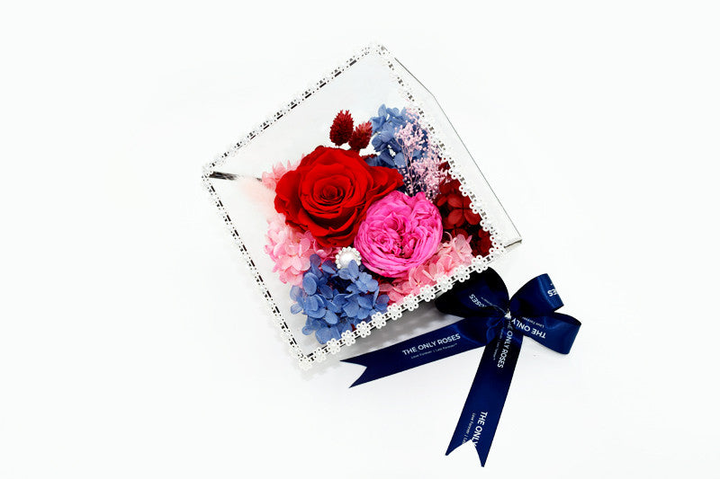 Geometric Glass Tilted Cube Roses Terrarium - The Only Roses