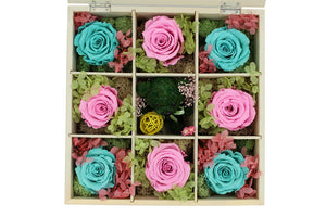 Deluxe White Hardwood Shadow Box Roses Arrangement - The Only Roses