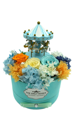 Merry-go-round Music Light Blue Preserved Rose Arrangement - The Only Roses