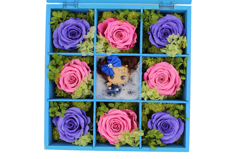 Deluxe Blue Hardwood Shadow Box Roses Arrangement - The Only Roses