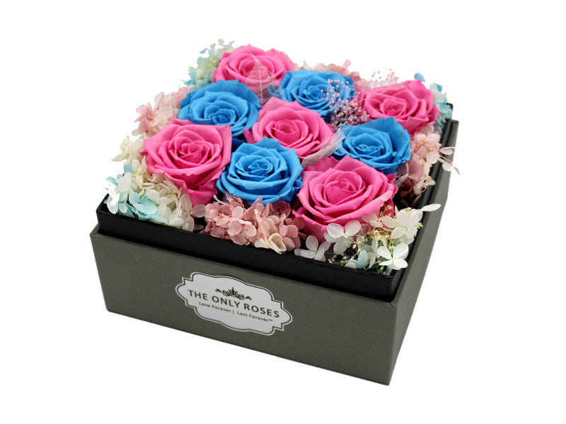 Deluxe Grey Open-top Square Box with Pink and Blue Roses - The Only Roses
