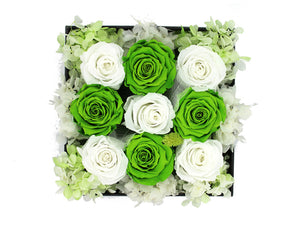 Deluxe Grey Open-top Square Box With Green and White Roses - The Only Roses