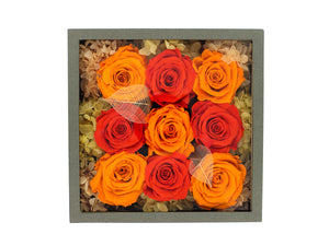 Deluxe Grey Open-top Square Box with Orange and Yellow Roses - The Only Roses