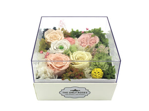 Regular White Square Leather Box with Preserved Roses - The Only Roses