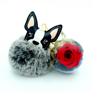 Red Preserved Rose | French Bulldog Keychain - The Only Roses