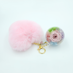 Light Pink Preserved Rose | Pink Fluffy Heart Keychain - The Only Roses