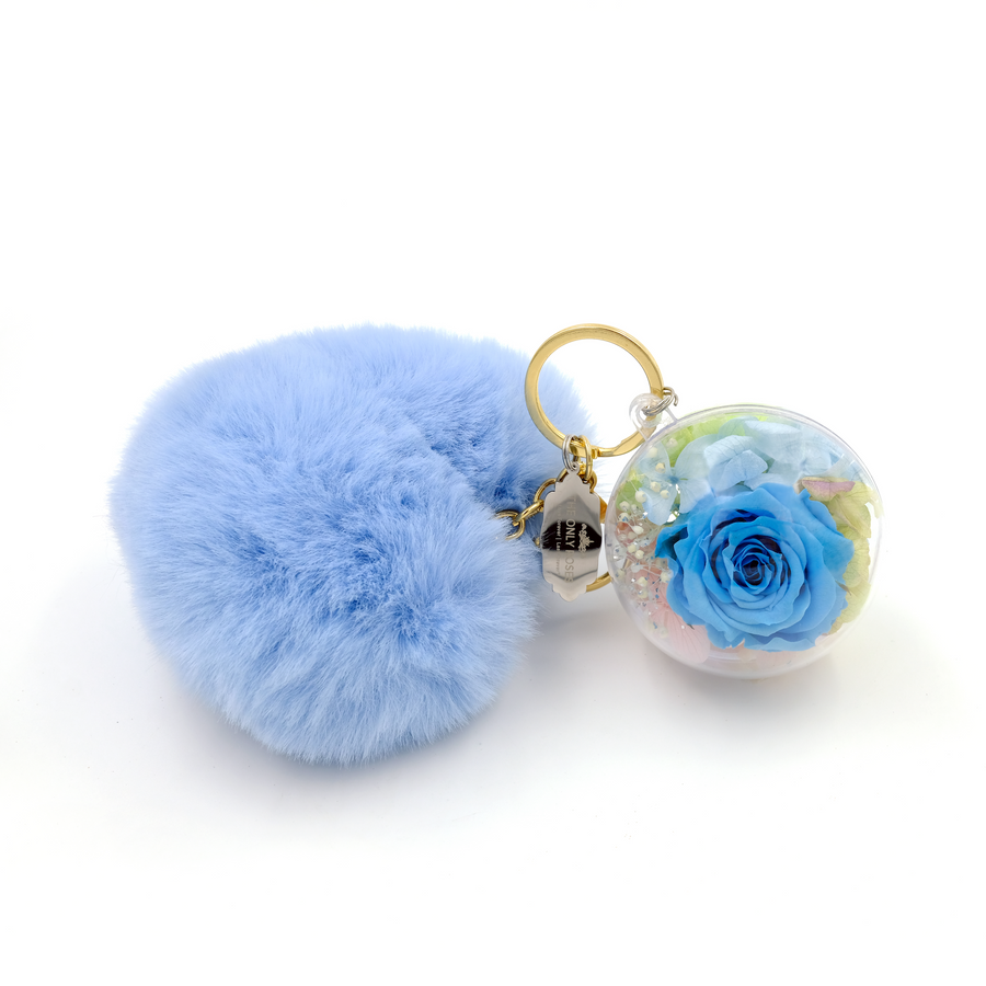 Blue Preserved Rose | Blue Fluffy Heart Keychain - The Only Roses
