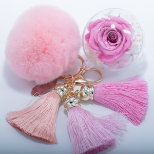 Pink Preserved Rose | Pink Fluffy Ball with Faded Pink Thread Tassels Keychain - The Only Roses