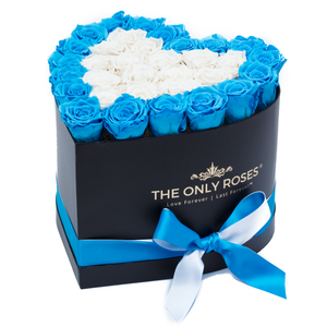Blue and White Preserved Roses | Heart Black Huggy Rose Box - The Only Roses