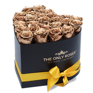 Gold Preserved Roses | Heart Black Huggy Rose Box - The Only Roses