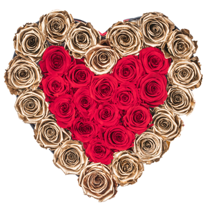 Gold and Red Preserved Roses | Heart Black Huggy Rose Box - The Only Roses