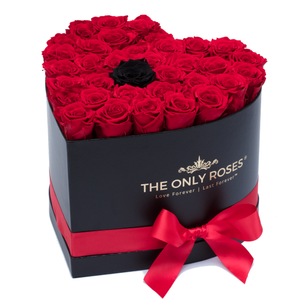 Red with One Black Preserved Roses | Heart Black Huggy Rose Box - The Only Roses