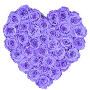 Purple Preserved Roses | Heart Black Huggy Rose Box - The Only Roses