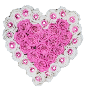 Special Pink and White Preserved Roses | Heart White Huggy Rose Box - The Only Roses