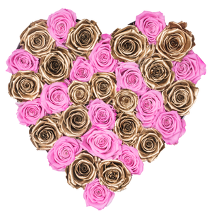 Pink and Gold Preserved Roses | Heart White Huggy Rose Box - The Only Roses