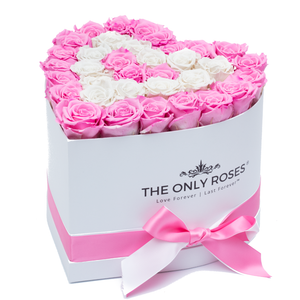 Pink and White Preserved Roses | Heart White Huggy Rose Box - The Only Roses