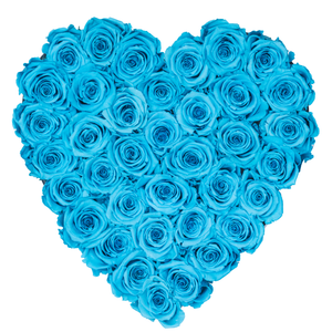 Blue Preserved Roses | Heart White Huggy Rose Box - The Only Roses