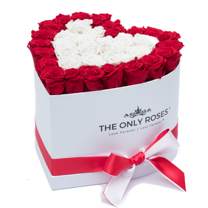Red and White Preserved Roses | Heart White Huggy Rose Box - The Only Roses