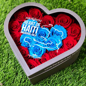 JUST FOR YOUR FOUNDATION | Heart of Haiti Gala Invitation Gift | MEDIUM HEART CLASSIC GREY BOX - The Only Roses