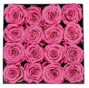 Deluxe Grey Open-top Square Box With 16 Pink Roses - The Only Roses