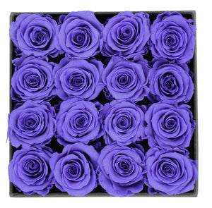 Deluxe Grey Open-top Square Box With 16 Purple Roses - The Only Roses
