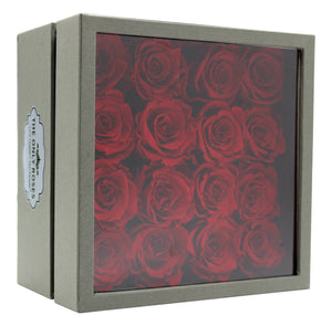 Deluxe Grey Open-top Square Box With 16 Red Roses - The Only Roses