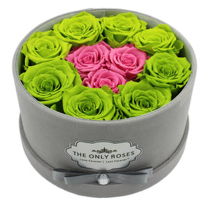 Special Edition Grey Lint Round Box with Mixed Green and Pink Preserved Roses - The Only Roses