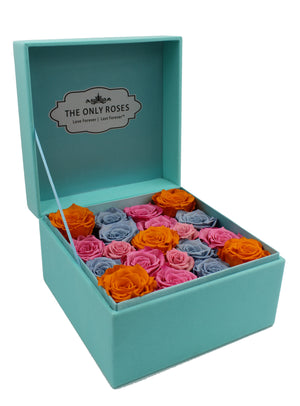 Special Edition Large Tiffany Blue Lint Square Box with Mixed Color Preserved Roses - The Only Roses