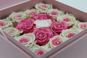 Special Edition Pink Lint Square Box with Mixed Pink and White Preserved Roses - The Only Roses