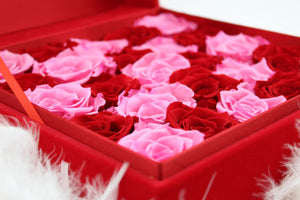 Special Edition Red Lint Square Box with Mixed Pink and Red Preserved Roses - The Only Roses