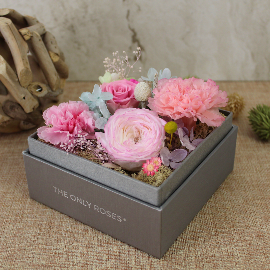 Preserved Real Pink Carnations Arrangement | Crystalline Rose Box - The Only Roses