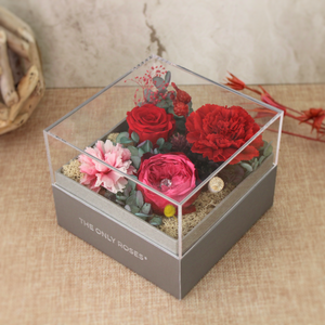 Preserved Real Red Carnations Arrangement | Crystalline Rose Box - The Only Roses