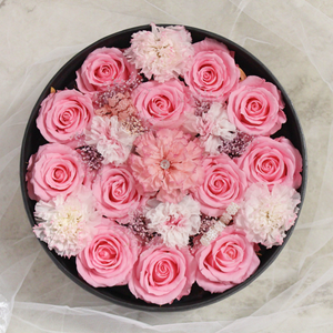 Preserved Real Carnations | Medium Round Classic Grey Box - The Only Roses