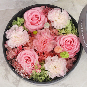 Preserved Real Carnations | Small Round Classic Grey Box - The Only Roses
