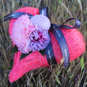 Preserved Real Carnations | Hot Pink Heart Design