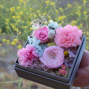 Preserved Real Pink Carnations Arrangement | Crystalline Rose Box