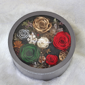 Christmas Edition | SMALL ROUND CLASSIC GREY BOX - The Only Roses