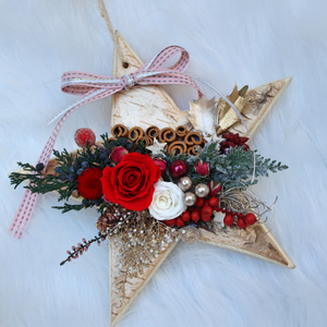 Star Christmas Tree Hanging Ornament with Preserved Roses