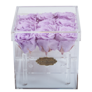 Light Purple Preserved Roses | Small Acrylic Rose Box - The Only Roses