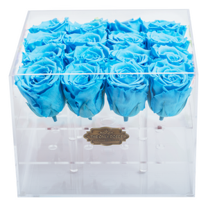 Blue Preserved Roses | Medium Acrylic Rose Box - The Only Roses