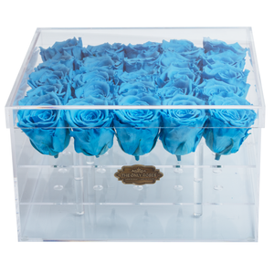 Blue Preserved Roses | Large Acrylic Rose Box - The Only Roses