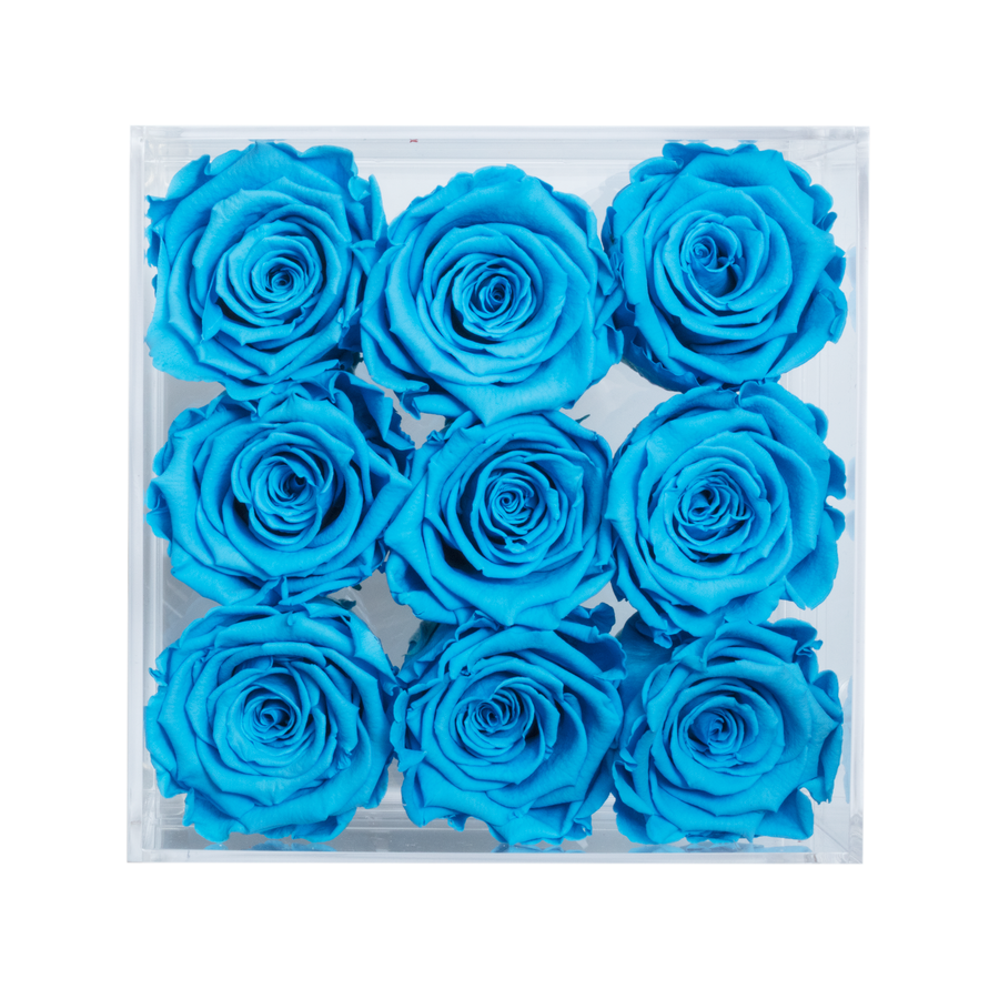 Blue Preserved Roses | Small Acrylic Rose Box - The Only Roses