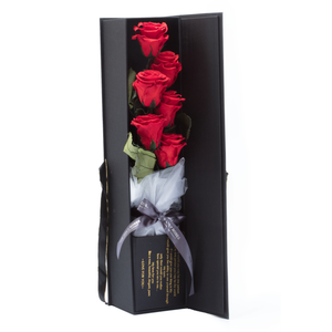 The Only Extra | 6 Red Preserved Long Stem Roses Bouquet - The Only Roses
