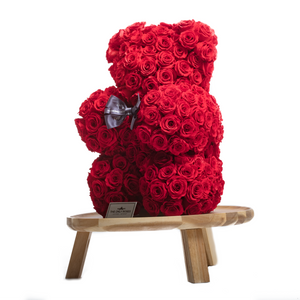 15 Inches Tall Giant Red Preserved Rose Bear - The Only Roses