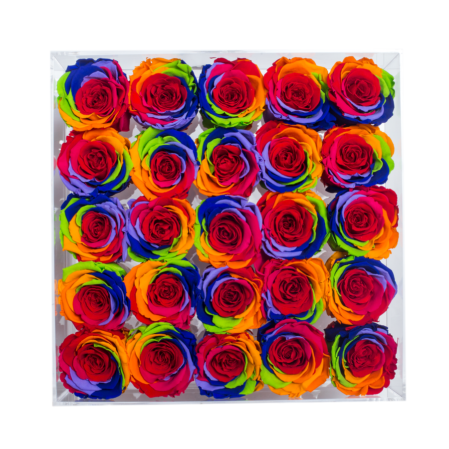 Rainbow Color Preserved Roses | Large Acrylic Rose Box - The Only Roses